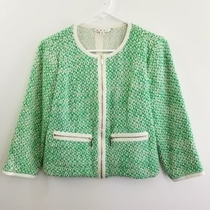 Cabi Clover Tweed Green Crop Blazer Jacket Size 6